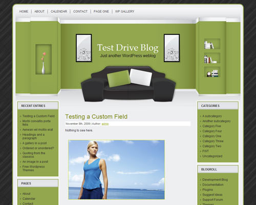 Шаблон на тему интерьера WordPress Green room