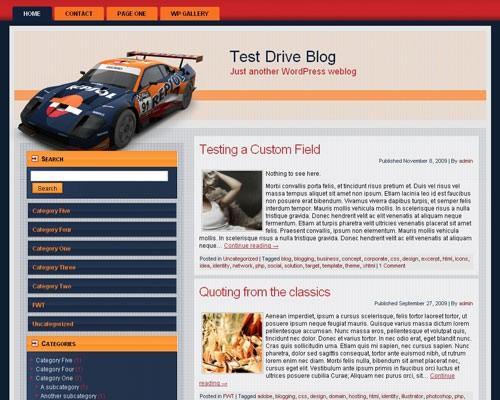 Автомобильная тема WordPress Race me not