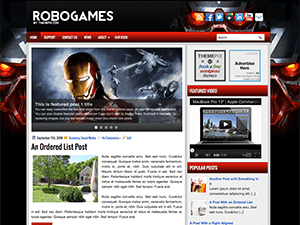 Wordpress шаблон игры RoboGames