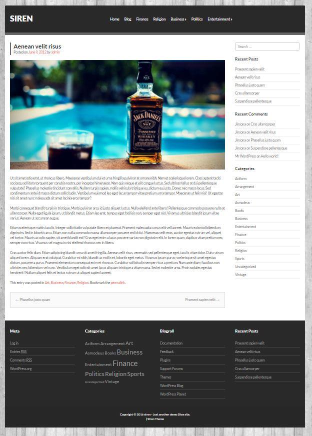 Авто тема WordPress Siren