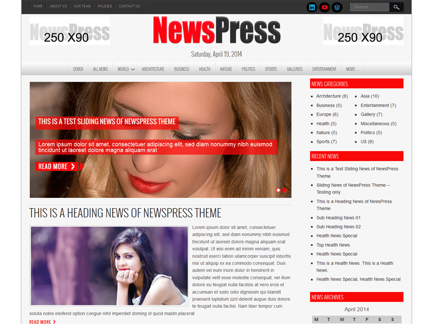 Новостной шаблон Вордпресс Newspress-lite