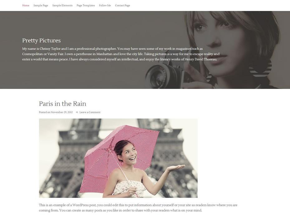 Вордпресс тема для сайта фотографа Pretty-pictures