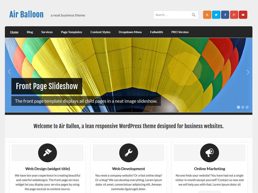 Яркий Вордпресс шаблон Air-balloon
