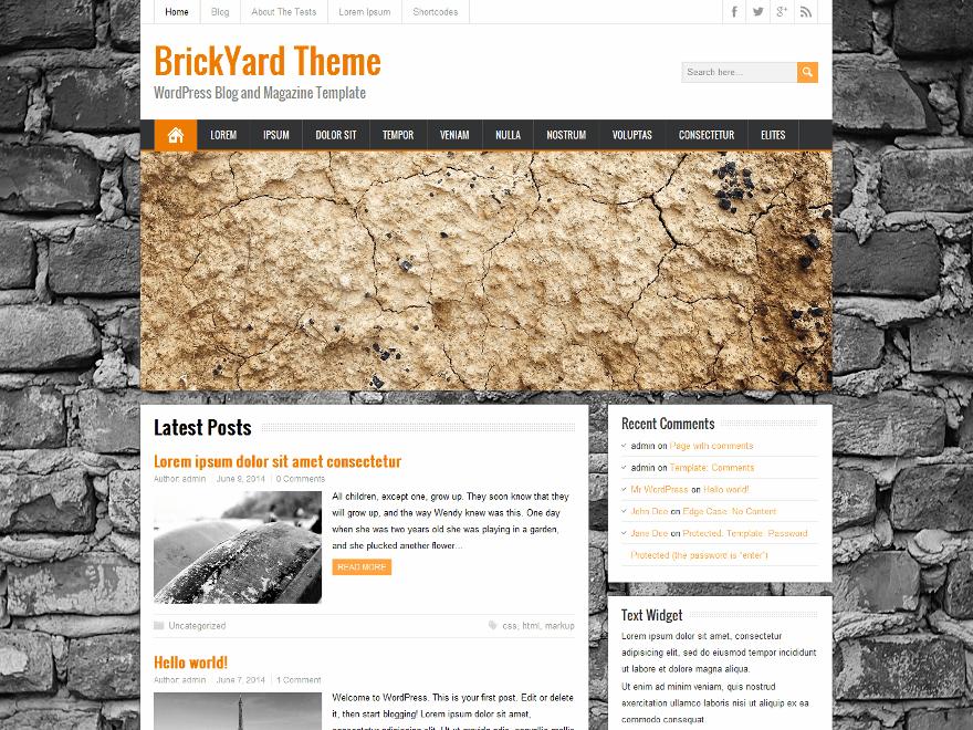 Современная Вордпресс тема Brickyard