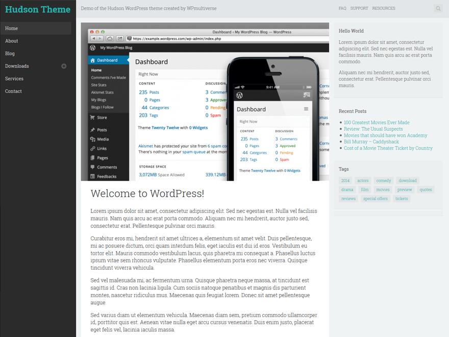 Мобильно-оптимизированный шаблон Wordpress Hudson