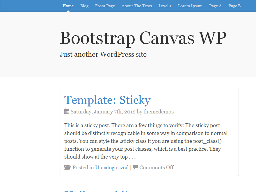 Русская Вордпресс тема Bootstrap-canvas-wp