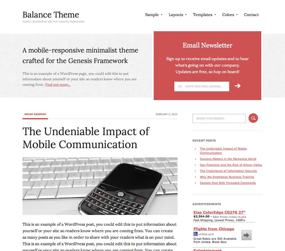 Премиум тема 2015 Вордпресс Balance