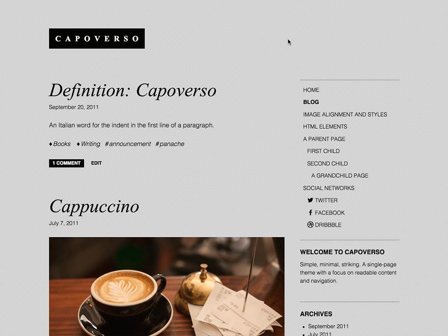 Простой шаблон Вордпресс Capoverso