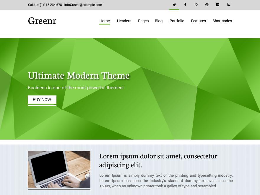 Современный шаблон WordPress Greenr