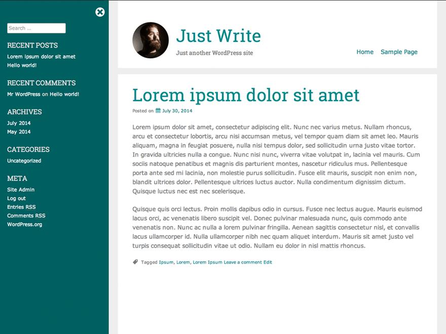 Простой Вордпресс шаблон Just-write