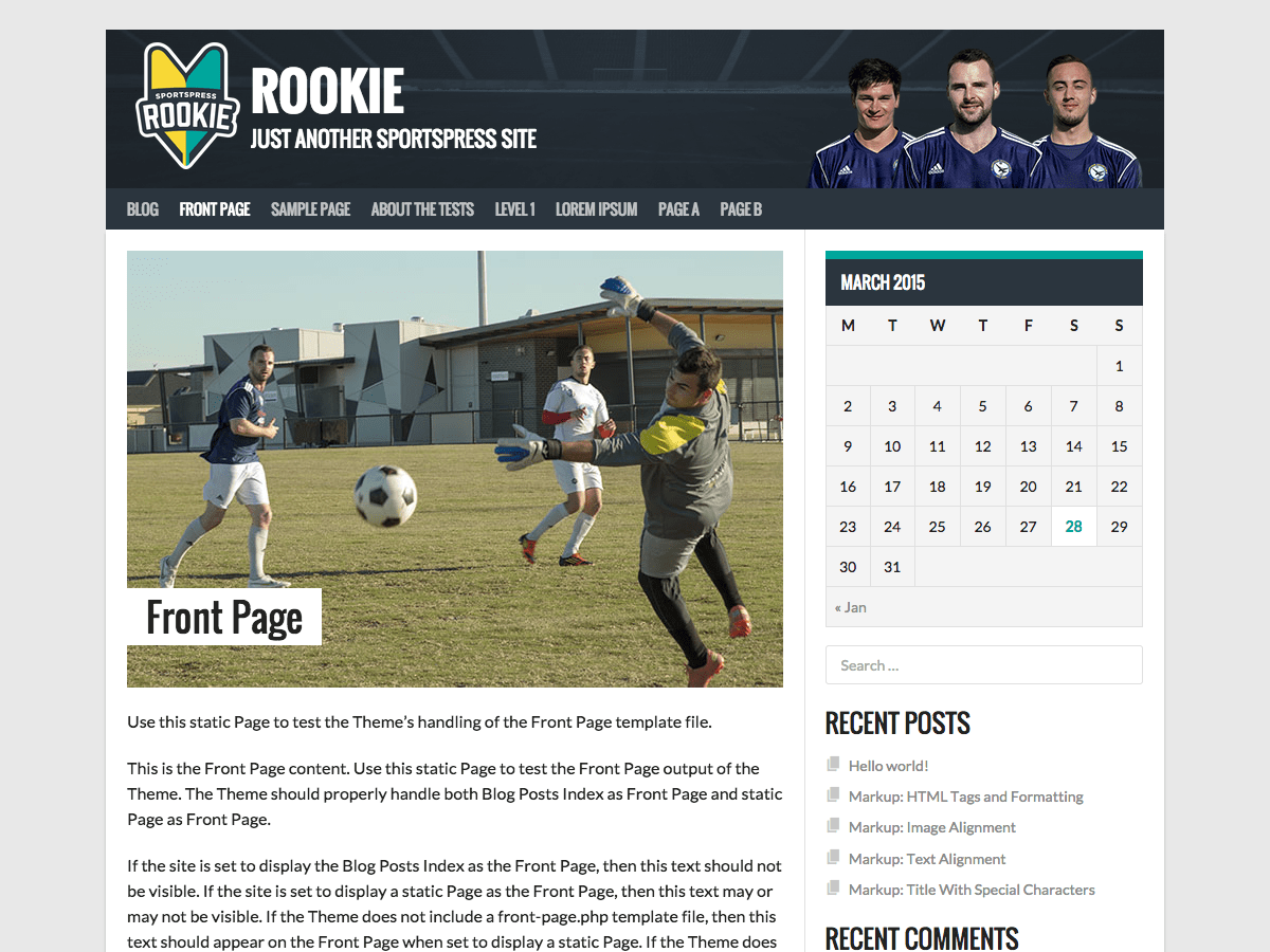 Wordpress тема спорт Rookie