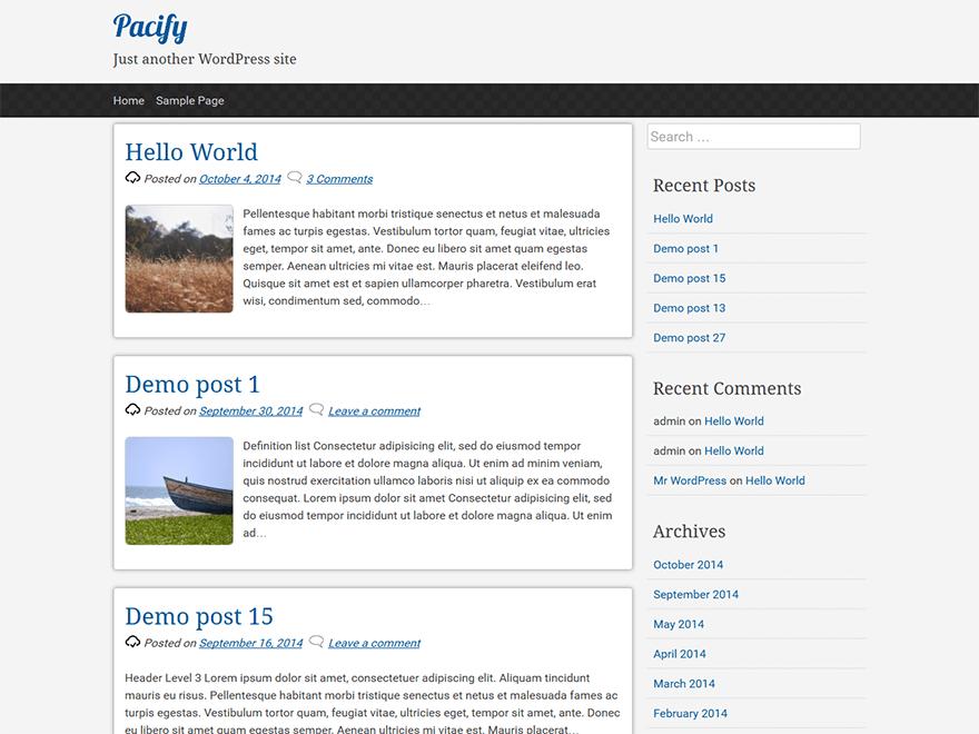 Светлый шаблон WordPress Pacify