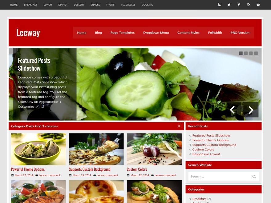 Кулинарный Вордпресс шаблон Leeway