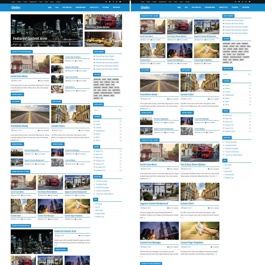 Варианты главной страницы