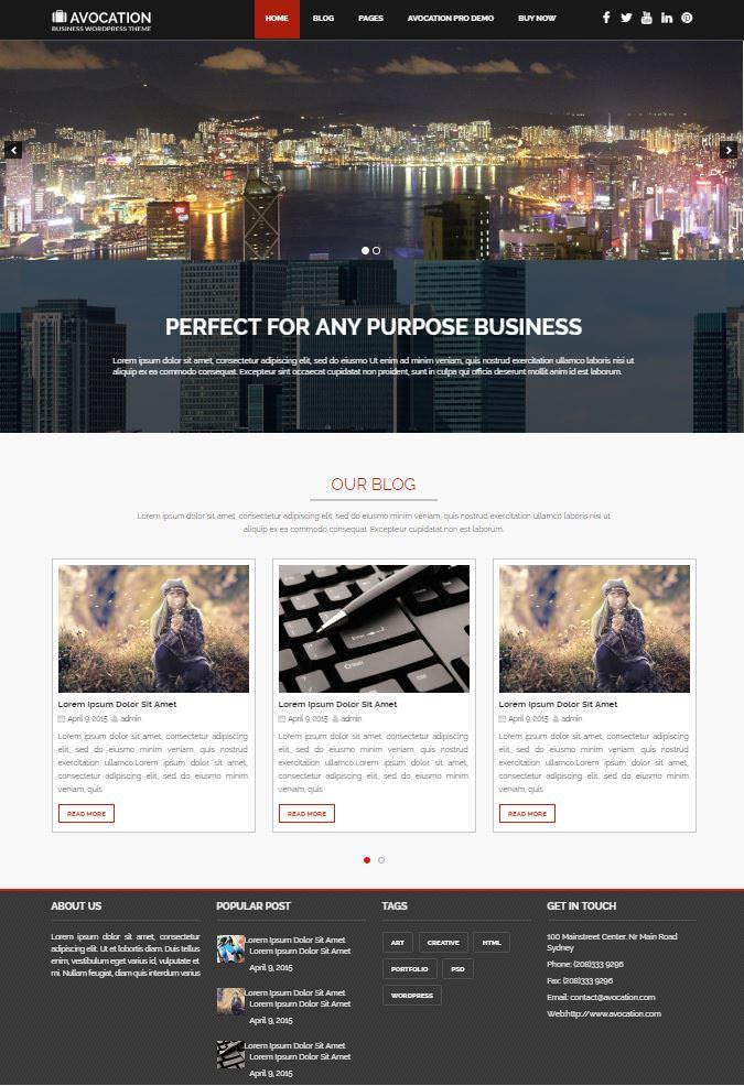 Скрин сайта на шаблоне Avocation