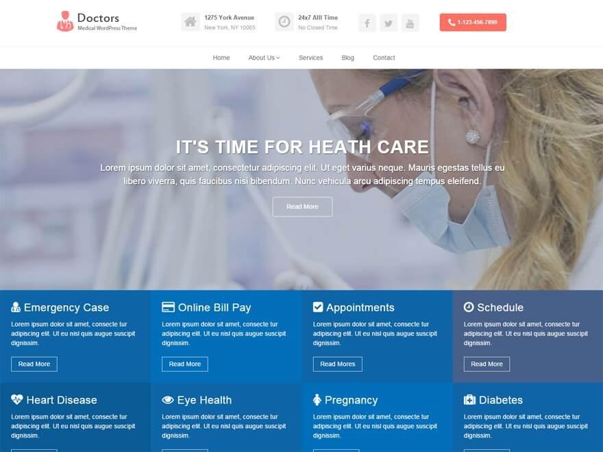 Doctors бесплатный шаблонов для сайтов докторов и врачей.
