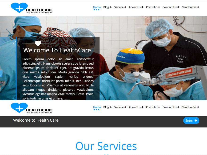 Скрин бесплатной медицинской темы.