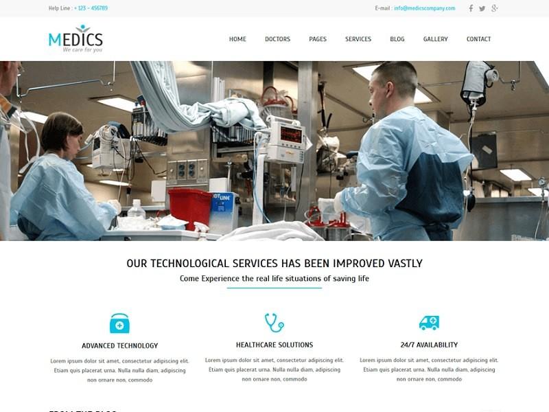 Бесплатный шаблон для поликлиник и больниц Medics.