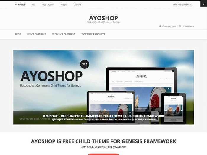 AyoShop бесплатный шаблон для магазина онлайн.
