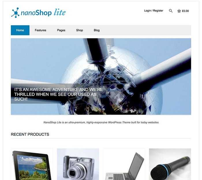 NanoShop Lite адаптивный шаблон для интернет магазина на вордпресс.