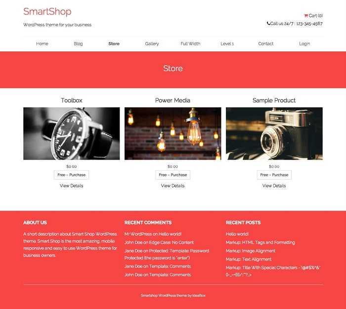 SmartShop Lite простой бесплатный шаблон.