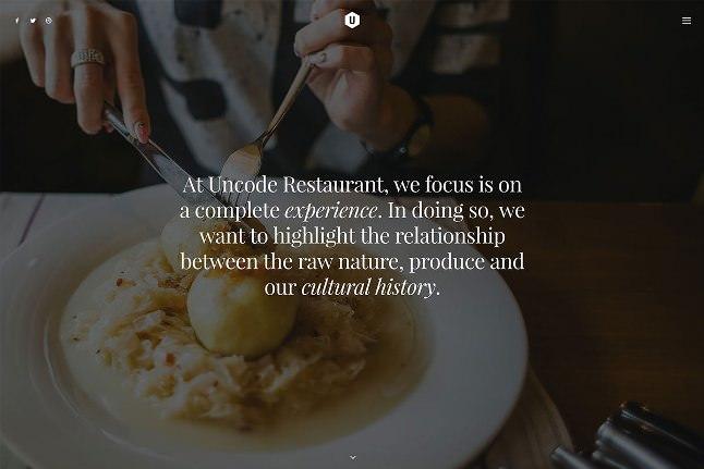 Uncode вордпресс тема для ресторана