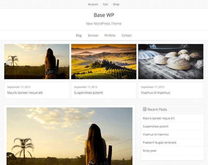 Base WP бесплатный шаблон для онлайн магазина.