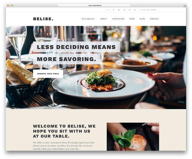 тема вордпресс для ресторанов belise