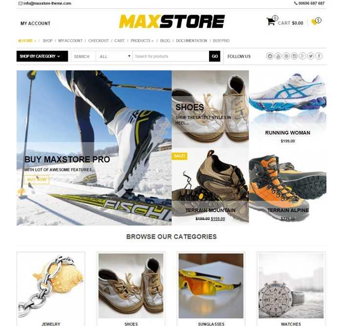 MaxStore лучший шаблон для интернет магазина на вордпресс.