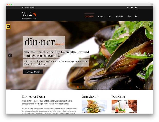 nosh тема вордпресс для кафе и ресторантов