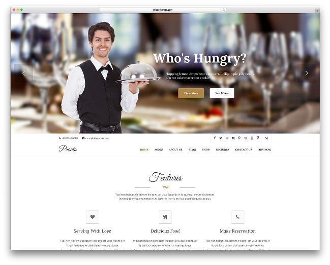 pronto шаблон вордпресс для кафе и ресторанов