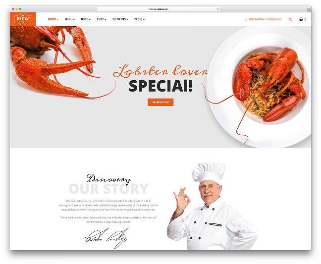 rica seafood тема для кафе и ресторанов вордпресс
