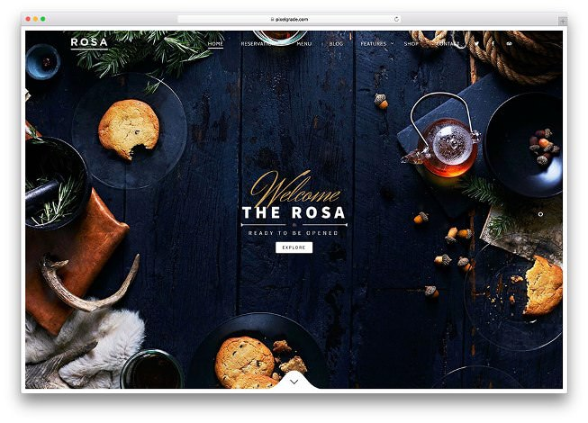 rosa шаблон вордпресс для кафе и ресторана