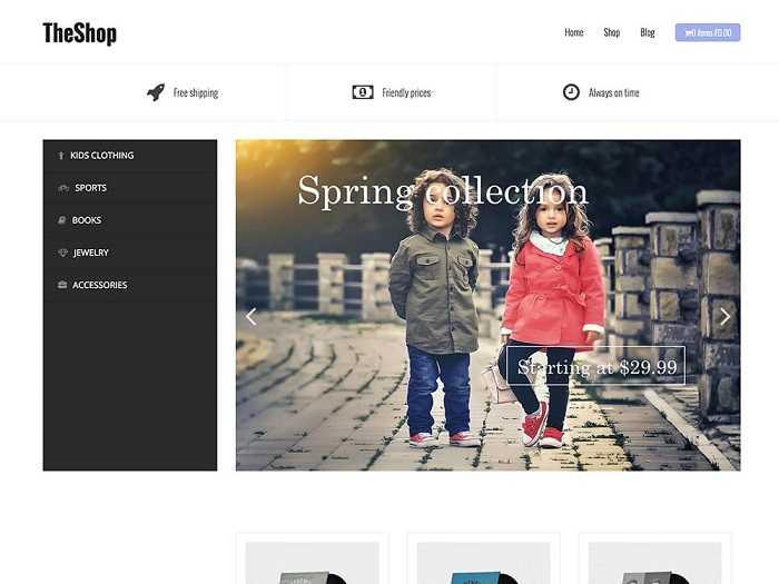 TheShop бесплатная тема для интернет магазина.