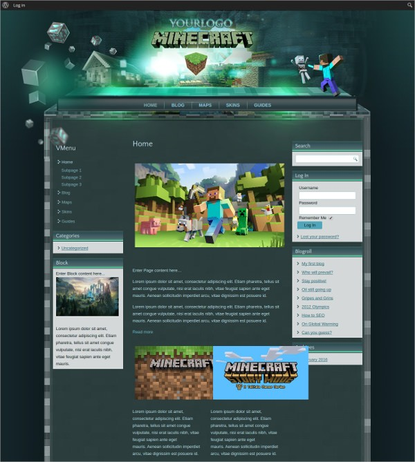 Тема сайта MineCraft WordPress