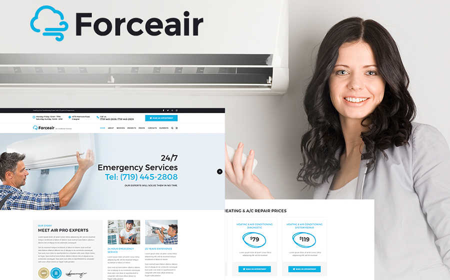 Шаблон WordPress на тему системы вентиляции и охлаждения.