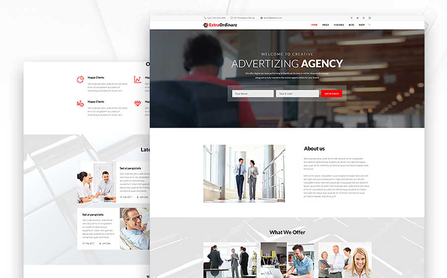 Тема WordPress сайта рекламного агентства.