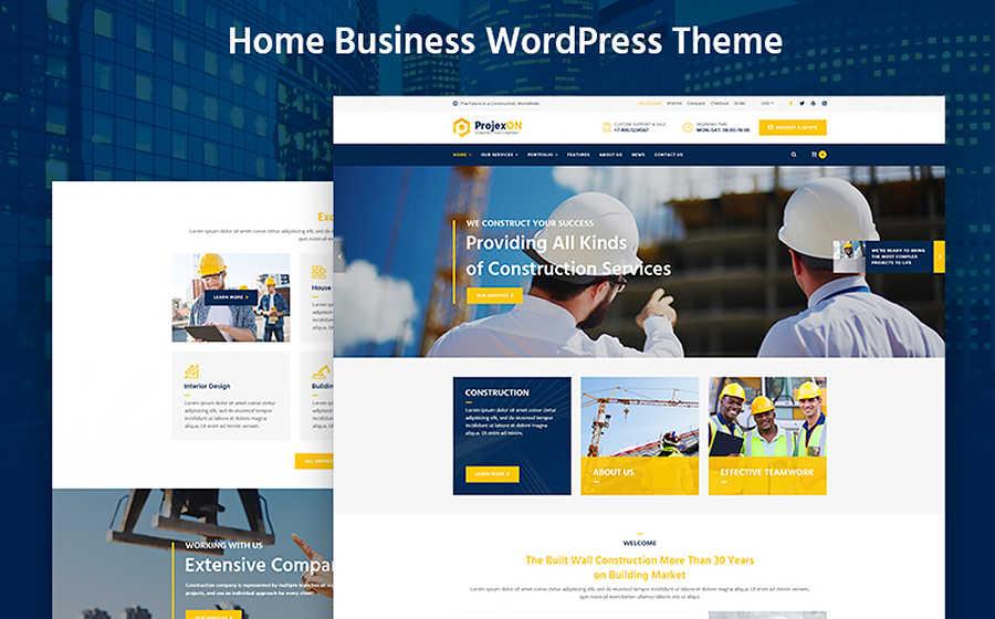 Адаптивный WordPress шаблон на тему стройка и архитектура.