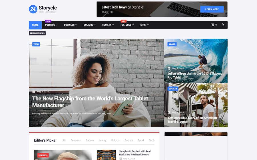Адаптивный WordPress шаблон на тему новостной портал.