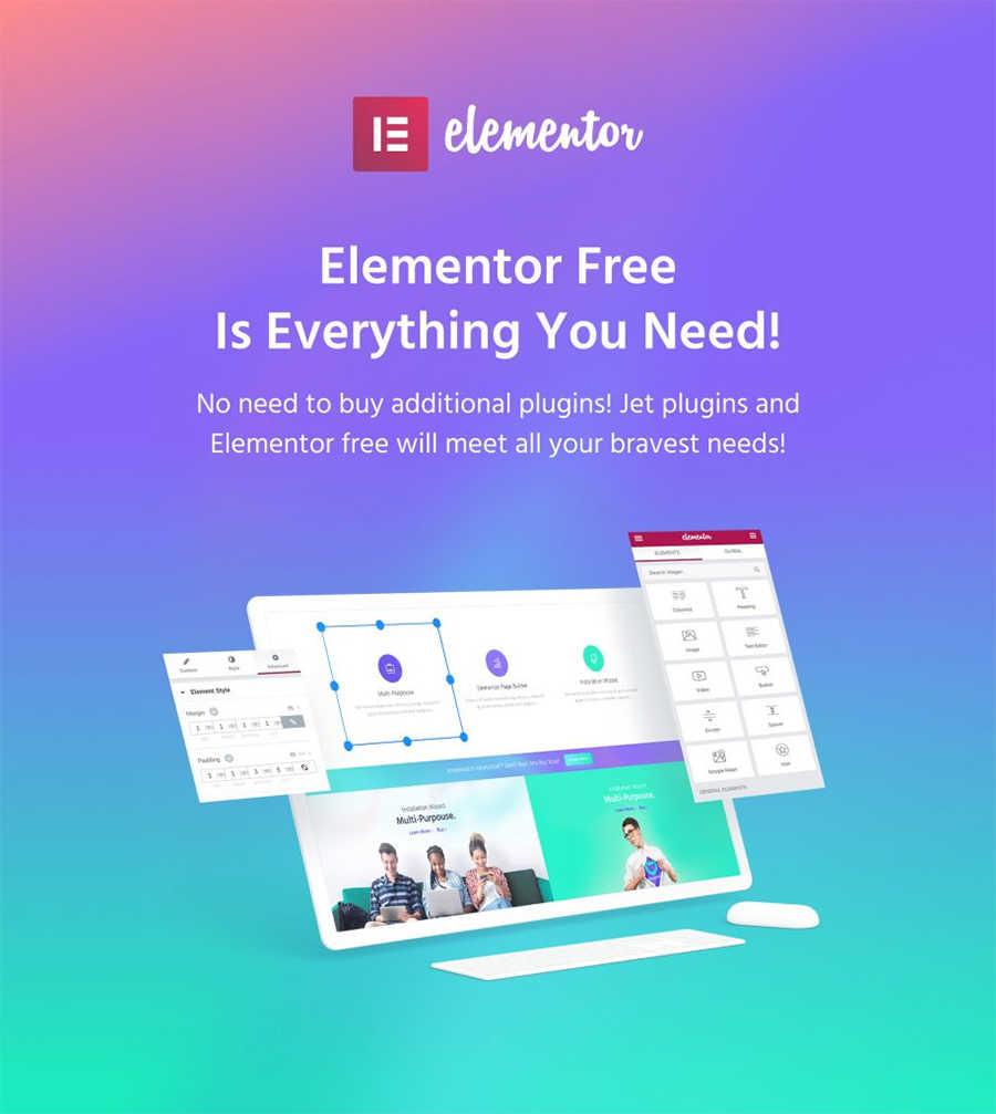 Elementor позволяет создать впечатляющий дизайн.