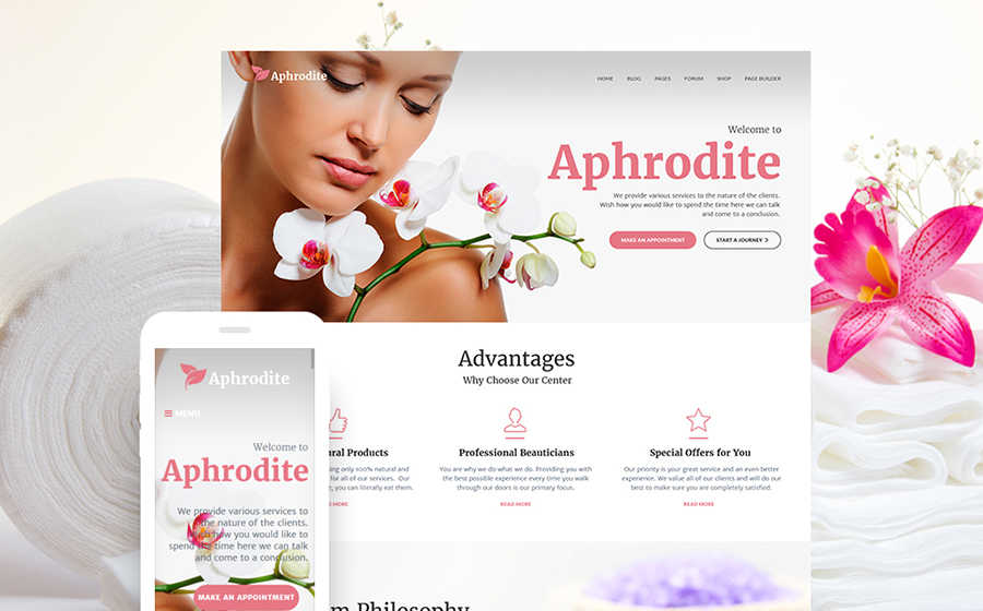 WordPress шаблон Aphrodite для сайта массажного салона