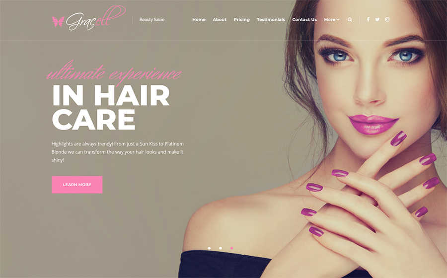 WordPress шаблон Gracell - Beauty Salon Elementor