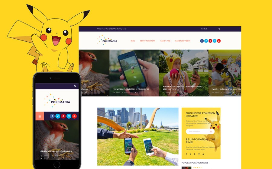 WordPress шаблон Pokemania - Game Portal Pokemon