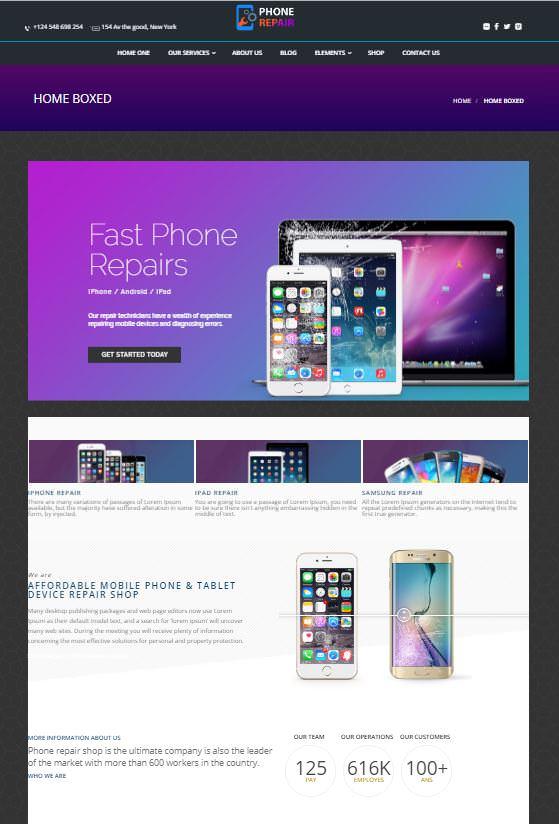 Шаблон PhoneRepair для сайта о телефонах.