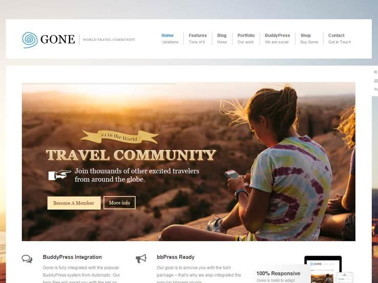Gone шаблон для Вордпрес для сообщества путешественников