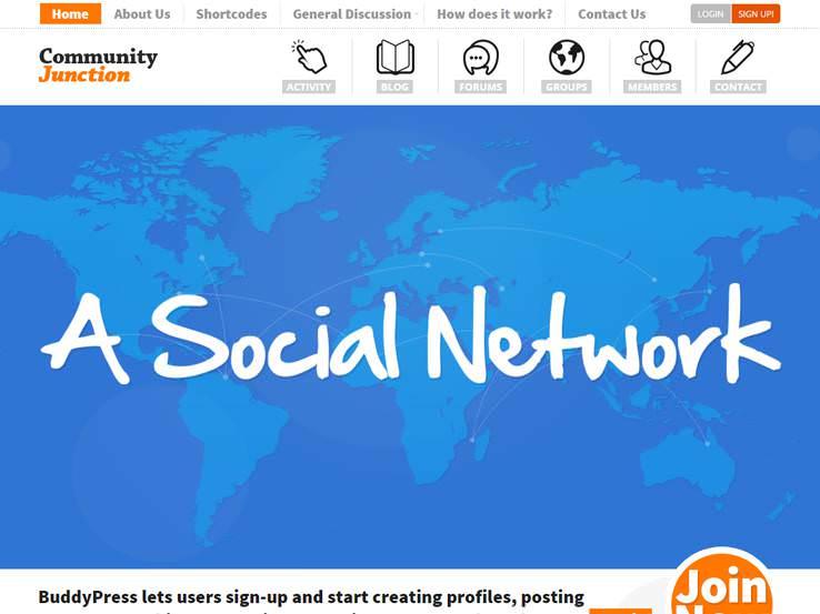 Community Junction шаблон для Вордпрес для интернет сообществ