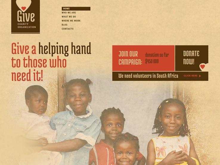 Give шаблон для Вордпрес для благотворительной организации