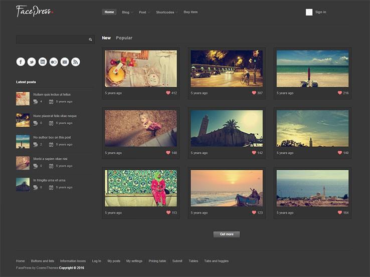 FacePress шаблон для Вордпрес для сообщества фотографов