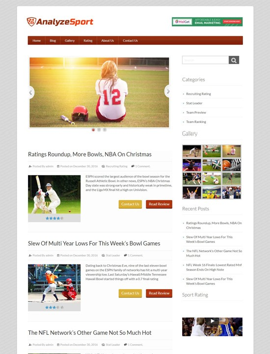 Analyze Sport WordPress спортивный шаблон