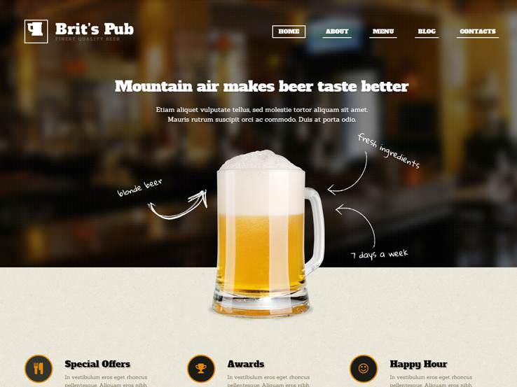Beer Pub решение для веб-сайта пивоваренного завода или паба